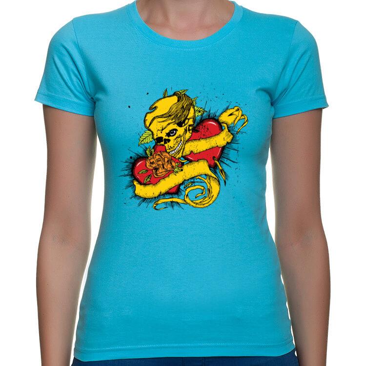 Damska koszulka Czaszka i serca